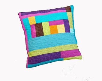 Cushion cover, modern geometric quilted cushion cover, pillow cover, modern home decor, pillow case, teal pink orange purple