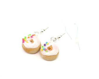 Vinalla Sprinkles Donut Earrings, Miniature Food Jewelry, Polymer Clay Food Jewelry