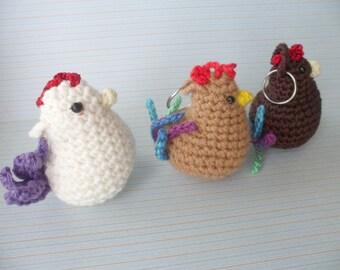 Crochet keychain chicken, crochet chicken, cute chicken, keychain, amigurumi, handmade, crochet keychain, chicken