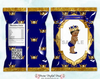 Printable Chip Bags | Little Prince Royal Blue & Gold | African American Vintage Baby Boy | Digital Instant Download