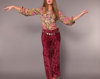 1960s Vintage Boho Psychedelic Pullover Blouse