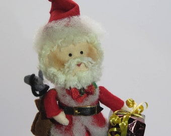 Christmas Santa Claus Cake topper - felt dolls softies for decoration hand made in France