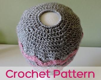 Chevron Messy Bun Hat - Crochet Pattern