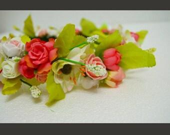 """Artificial flower white-rose head crown """"Aisha"""""""