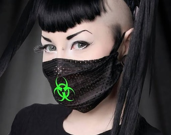 """GodEmperor 23 """"BIOHAZARD"""" mesh surgical mask you choose fabric and design color. Halloween Cyber Cybergoth Cosplay Festival EDC Ultra Rave"""