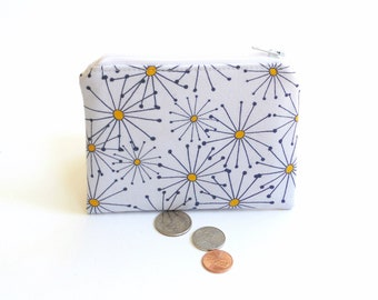 Funky daisy change purse, zipper pouch, coin bag, women coin purse gift for her under 10
