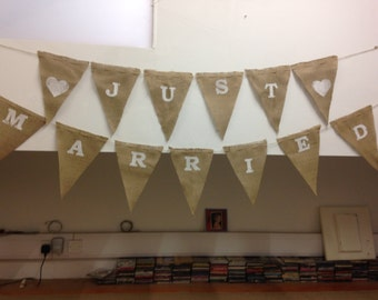 Mr & Mrs - SURNAME HERE - Printed Hessian Bunting - Your Slogan on My Flags