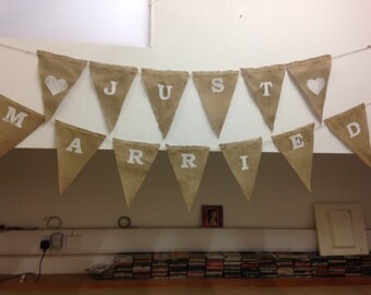 Just Married - Printed Hessian Bunting - Your Slogan on My Flags