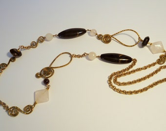 Long necklace made with Brazilian agate stone and rose quartz stone