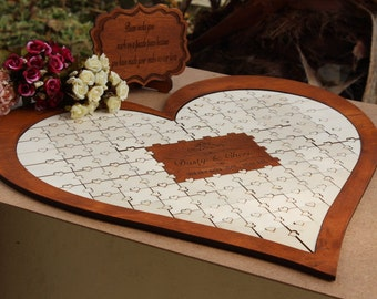 Personalized guest book puzzle wedding Custom Wedding Guest Book Puzzle rustic nightstand guest book puzzle wedding Wedding Memory Book