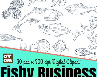 Fish Line Art, Clipart, Outline, Digital Stamp,