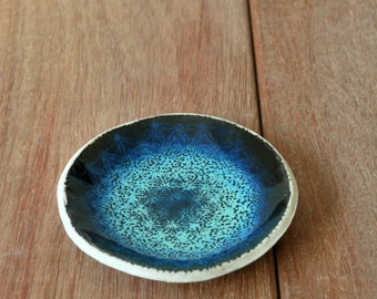 Ceramic Ring Bowl, Ring Holder, Wedding Favors, Ring Dish, Secretary gifts, Turquoise Bowl, Textured Bowl, Ceramic Trinket Dish