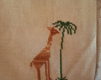 Linen embroidered giraffe kitchen towel...perfect for your collection!!