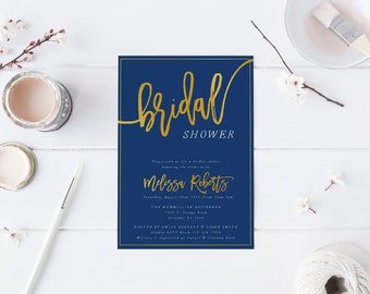 Gold white navy Bridal Shower Invitation Bachelorette Party Invitation Hens Night Party Navy Invitation Modern Calligraphy Blue Gold