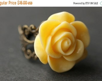 MOTHERS DAY SALE Yellow Rose Ring. Yellow Flower Ring. Gold Ring. Silver Ring. Bronze Ring. Copper Ring. Adjustable Ring. Handmade Jewelry.