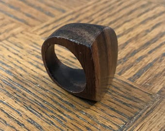70s wood statement ring size 8 / vintage natural chunky minimalist wood ring size 8