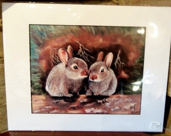 Rabbits - Matted Print