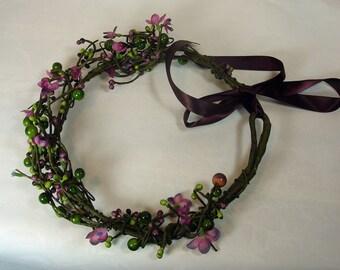 Floral Crown Hair Piece, Floral Vine Crown, Wedding, Bridal