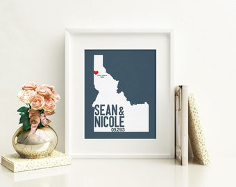 Idaho Wedding Gift - Personalized City State and Heart Silhouette - Custom Wedding Date - Location Modern Art Print - 8x10 Boise