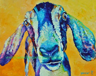 """Original Nubian Goat Oi Painting in bright colors 11""""x14"""" painted by knife"""