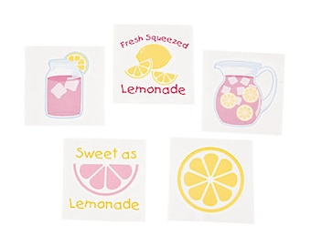 Lemonade Party Tattoos / Party favor bags /
