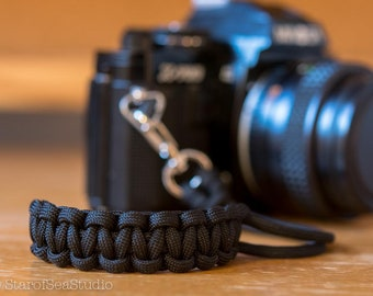 Paracord Camera Wrist Strap - Black - DSLR Mirrorless Film