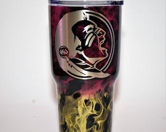 Custom Painted Yeti Tumbler  Florida State Seminoles FSU Ozark Florida State Ozark, Seminoles Ozark Florida State cup Seminoles cup