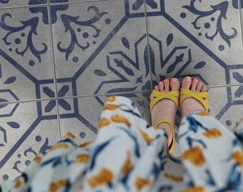 EVITA Tile Stencil - Tile Stencil For Painting Floor - Portuguese Tile Stencil