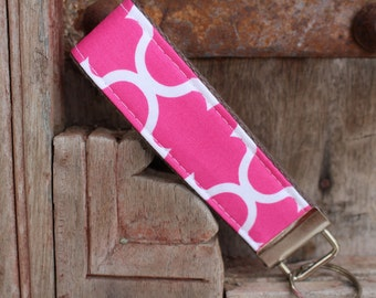 Key Chain-Key Fob- Wristlet -Pink Lattice on Gray-READY TO SHIP