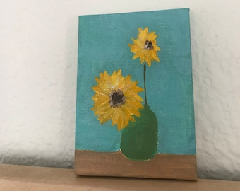Sunflower Tiny Painting - Original Artwork on Canvas