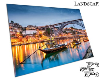 Night time River Boats on the Douro river city of Porto Poster Print X1664