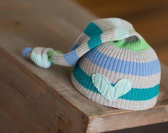 Newborn Photo Prop, Newborn Hat, Newborn Boy Hat, Newborn Photography, Newborn Hats, Newborn Knot Hat, Upcycled Newborn Hat, Ready to Ship