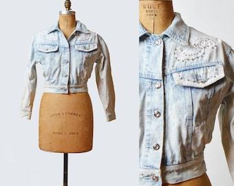 Vintage 80s Acid Wash GRUNGE Jean JACKET / 1980s Faded Lace Applique Studded Patchwork Denim Jacket, s m