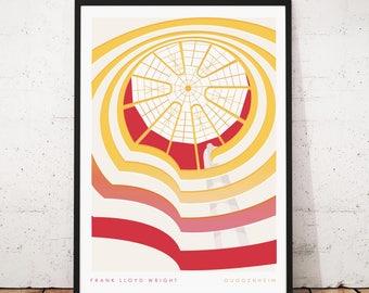 Frank Llloyd Wright's Guggenheim New York Poster - Illustrated Architecture Matte & Giclee Art Prints.  Home Decor, Art Prints of New York