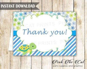Turtle Thank You Card - Turtle Thank You Note - Under The Sea Greeting Card Folded Printable Kids Birthday Baby Shower Card INSTANT DOWNLOAD