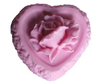 Valentines Soap - Rose Soap - Decorative Soap - Pink Soaps  - Flower Soaps - Heart Soap -  Moisturizing Soap  - Fragrance Oil Plumeria