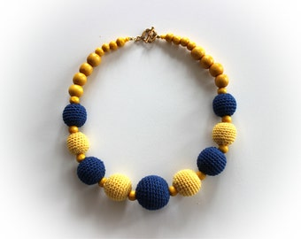 Girls Yellow Blue Necklace Knitted Wooden Beads Women Round Beads