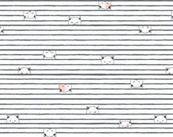 Kitty Stripe Cream Feline Myself Collection By Dear Stella Fabrics, Cats, Cat Lady, Cat Lover