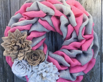 Spring Wreath, Summer Wreath, Easter Wreath, Pink Wreath, Shabby Chic Wreath, Everyday Wreath, Mothers Day Gift. Housewarming
