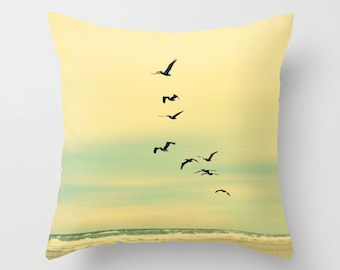 Sea, Beach, Birds, Pelicans, Throw Pillow Case Cover, Ocean, Home Decor, Decorative, Nature, Photography by RDelean Designs