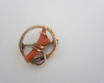 Beautiful Victorian Wishbone Branch Coral Gold Filled Pin-FREE SHIPPING (US)