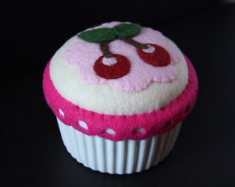 Handmade pincushion, cherry muffin pincushion, appliqued design, sewing notion, sewing gift, pin cushion, stocking stuffer