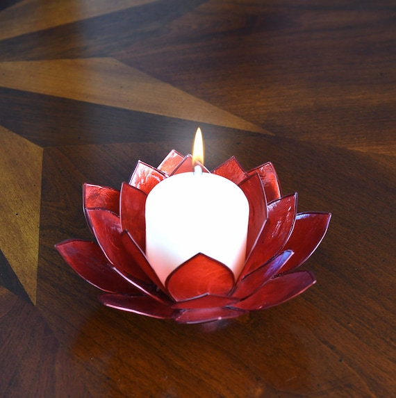 Red Lotus Flower Capiz Shell Candle Holder - A Real Jewel of a Gift and Keepsake