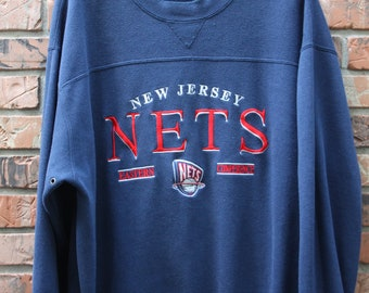 Vintage New Jersey Nets Embroidered 90s Sweatshirt Men's XL