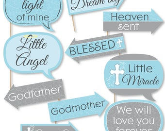 Funny Little Miracle Boy - Baptism Photo Booth Props - Blue and Gray Cross - Baby Shower Photo Booth Props - Christening - 10 Props & Dowels