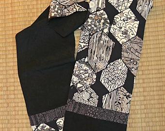 Black and ivory hexagons on black, vintage Japanese silk kimono scarf, reversible