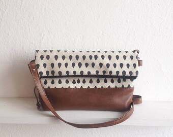 Raindrops print bag, Foldover crossbody bag, Canvas and Vegan Leather, Shoulder bag, Casual bag