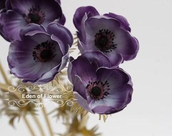 Purple Anemones Poppy Real Touch Flowers for Wedding Bridal Bouquets, Centerpieces, Vase Arrangements, Decorative Flowers