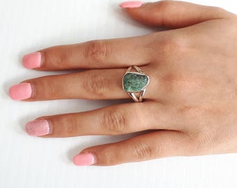 Raw emerald ring, rough, size 9, 92.5 sterling silver, view link to purchase resizing below in item details
