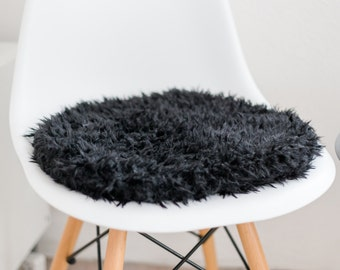 Seat cushion made of black faux fur suitable for the Eames chair, Limited